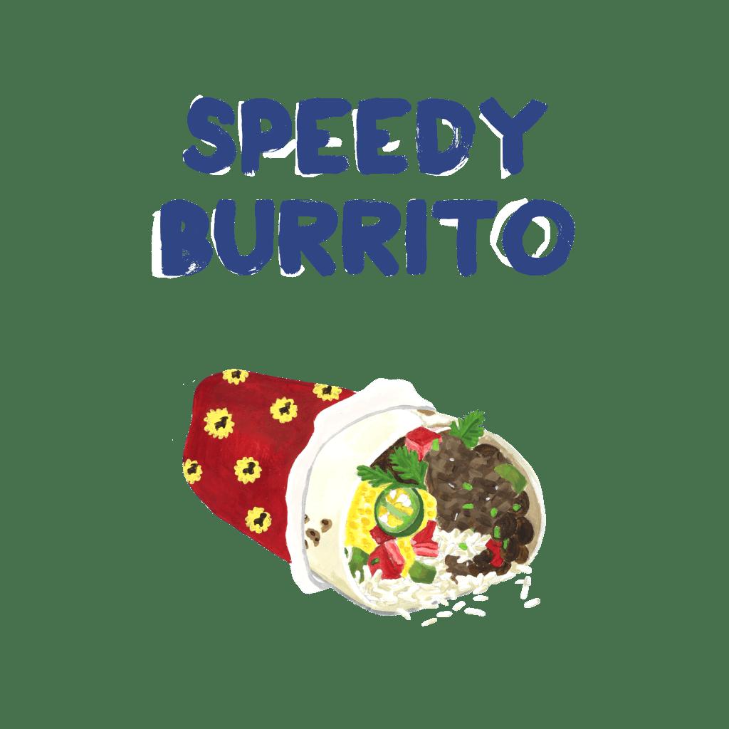 <H1>Středně velká pšeničná tortila plněná sýrem, rýží, ledovým salátem, pinto fazolemi, Pico de gallo a salsou dle Vašeho výběru.