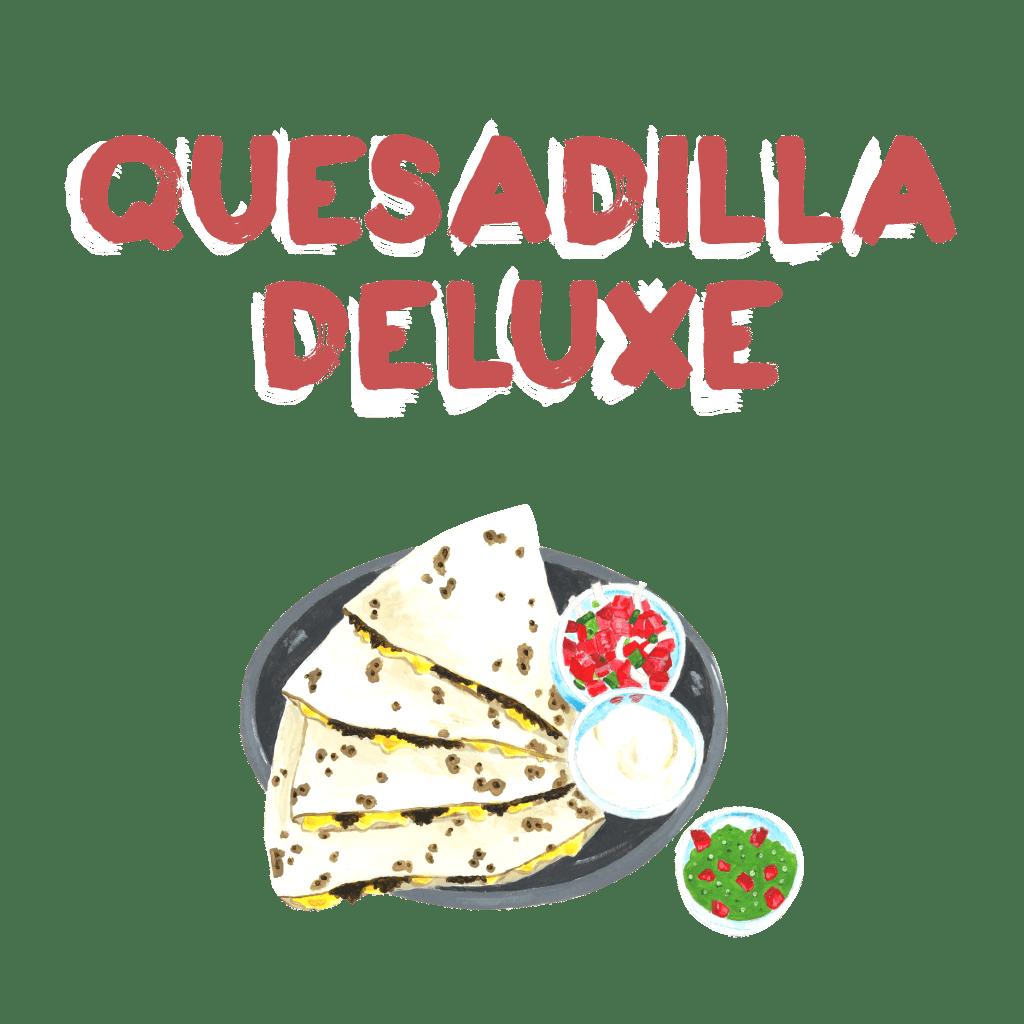 <H1> Velká pšeničná tortila zapečená se sýrem. Podáváme se zakysanou smetanou a salsou dle Vašeho výběru.