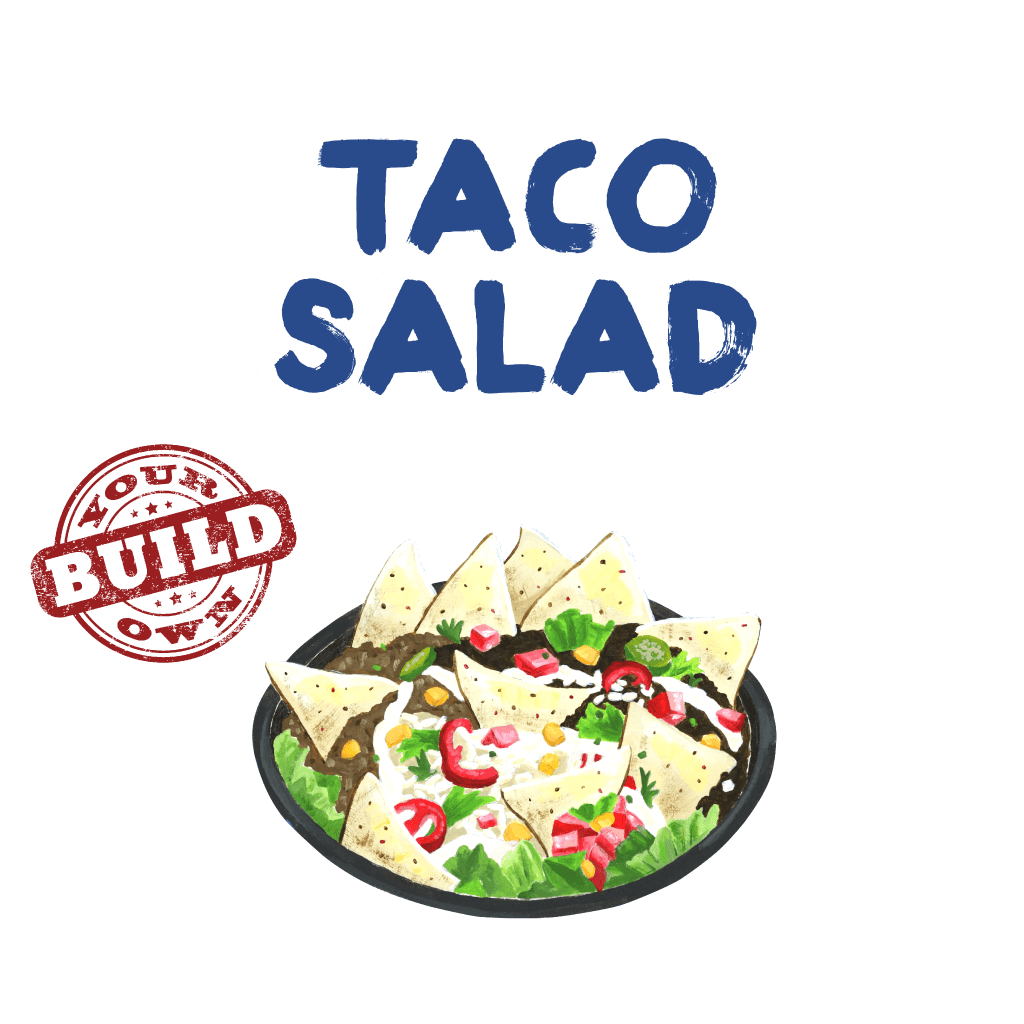<H1> Large bowl filled with lettuce, tortilla chips, cheese, rice, beans, salsa and  your choice of additional ingredients