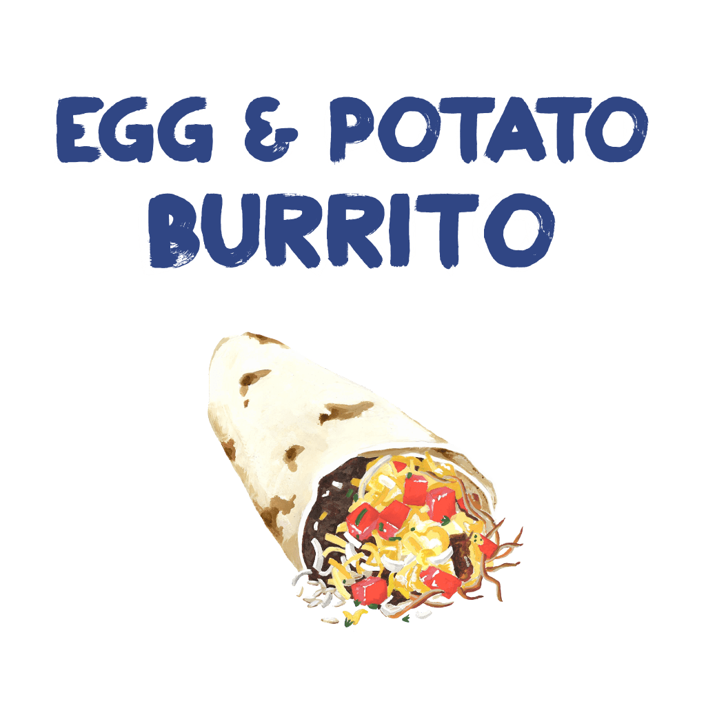 <H1> Flour tortilla filled with scrambled eggs, cheese, grilled potatoes, black beans and salsa.