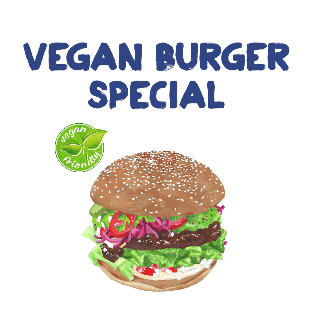 <H1> Grilled vegan patty topped with pickled red onion, guacamole, lettuce, jalapeños and salsa served on a sesame bun.