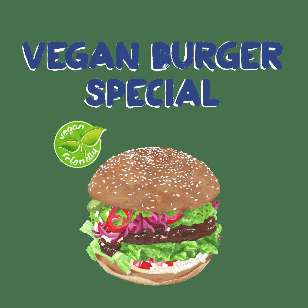 <H1> Grilovaný veganský burger, nakládaná červená cibulka, guacamole, ledový salát, jalapenos, salsa a naše domácí houska sypaná sezamem.