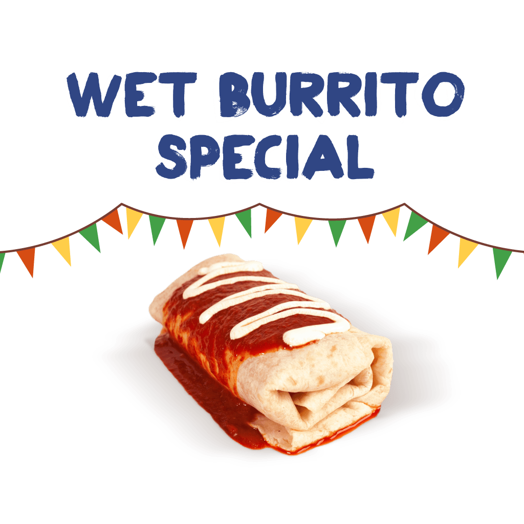 <H1>A medium rolled flour tortilla packed your choice of meat or grilled vegetables, pinto beans, Mexican rice, cheese and pico de gallo, all topped with a tasty warm red enchilada sauce and sour cream.